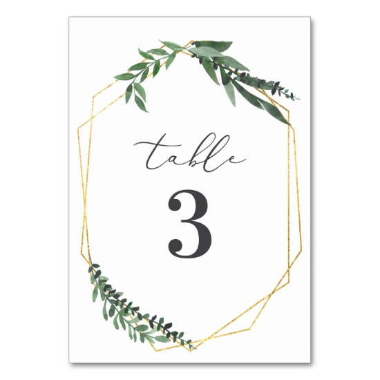 leafy watercolor gold wedding table numbers