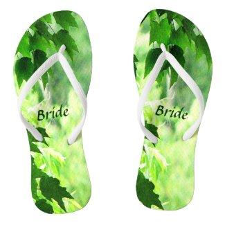 Leafy Wedding Bridal Flip Flops