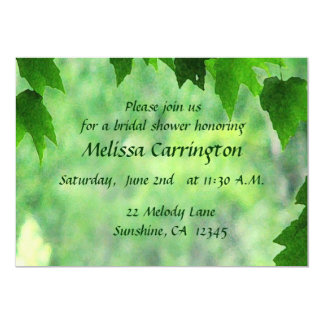 Leafy Wedding Bridal Shower 5x7 Paper Invitation Card