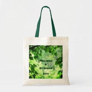 Leafy Wedding Bride and Groom Tote Bag