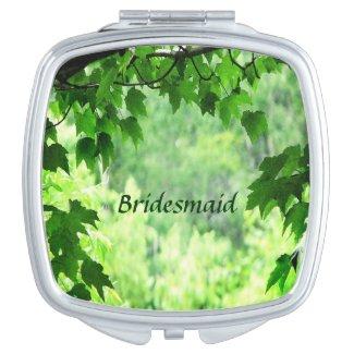 Leafy Wedding Bridesmaid Compact Mirror