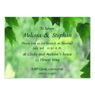 Leafy Wedding Brunch 5x7 Paper Invitation Card