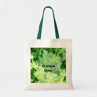 Leafy Wedding Flower Girl Canvas Bags