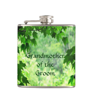 Leafy Wedding Grandmother of the Groom Flask