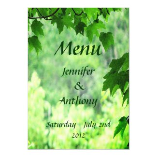 """Leafy Wedding Menu 5"""" X 7"""" Invitation Card"""
