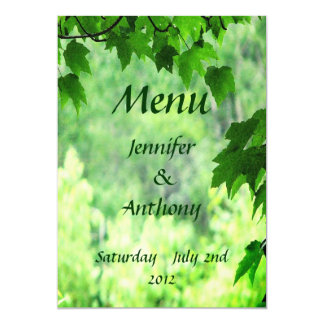Leafy Wedding Menu Card