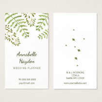 leafy wedding planner girly business cards