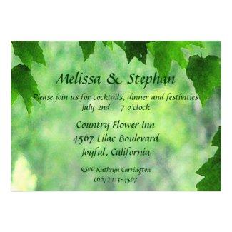 Leafy Wedding Reception Invites