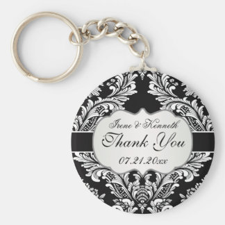 Leafy white damask pattern on a black Wedding Keychain