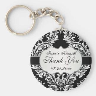 Leafy white damask pattern on a black Wedding Basic Round Button Keychain