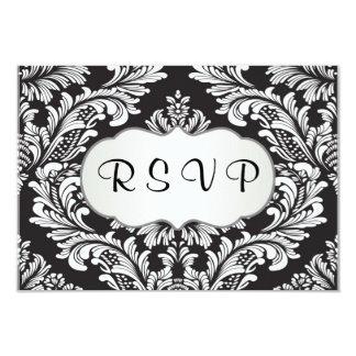 Leafy white damasl pattern on black RSVP Card