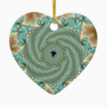 Leafy Whorls Fractal Ceramic Ornament
