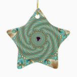 Leafy Whorls Fractal Ceramic Ornament