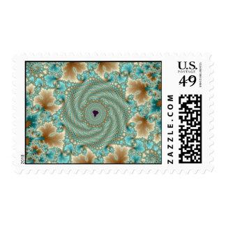 Leafy Whorls Fractal Postage Stamp