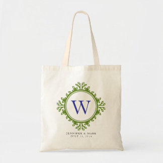 Leafy wreath green monogram personalized tote budget tote bag