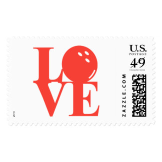 "League Champ Bowling ""Love"" Postage Stamps"