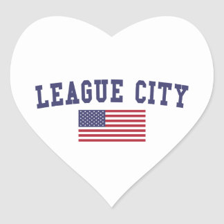 League City US Flag Heart Sticker