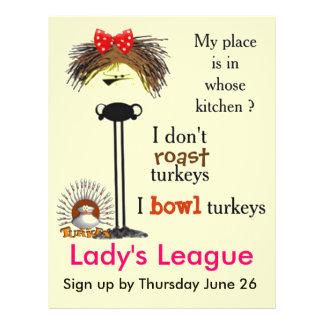 League flyer Grumpy gal bowls