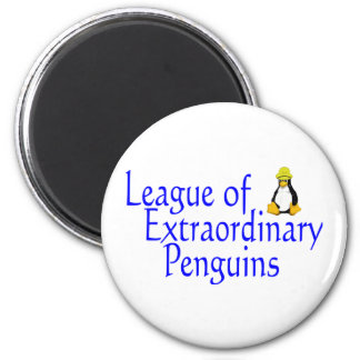 League of Extraordinary Penguins 4 2 Inch Round Magnet