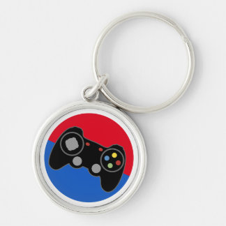 League Pro Gamer Silver-Colored Round Keychain