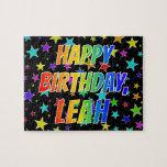 "[ Thumbnail: ""Leah"" First Name, Fun ""Happy Birthday"" Jigsaw Puzzle ]"