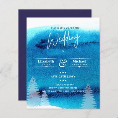LeahG BUDGET Mountain Blue Wedding Invite