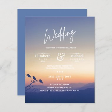 LeahG BUDGET Mountain Sunset Wedding Invite