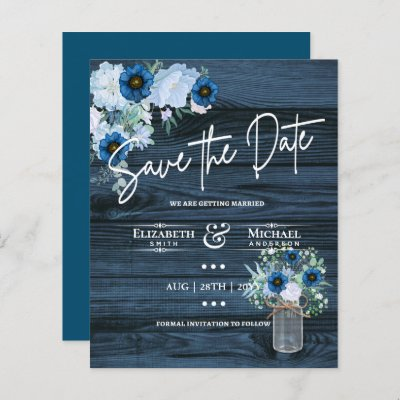 LeahG BUDGET Save Rustic Dusty Blue Flowers