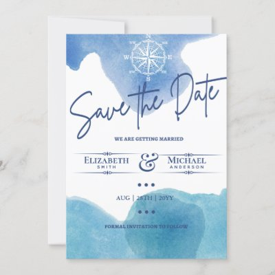 LeahG BUDGET Save The Date Nautical Blue