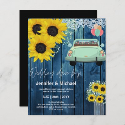 LeahG BUDGET Sunflower Drive-By Wedding Invitation