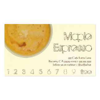 Lealtad de la bebida del café del café express de tarjetas de visita