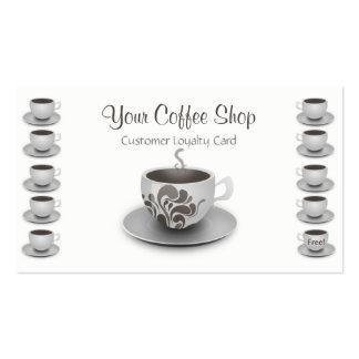 Lealtad del cliente de la cafetería promocional tarjetas de visita