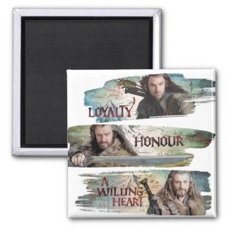 Lealtad, honor, un corazón dispuesto imán cuadrado