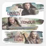 Lealtad, honor, un corazón dispuesto calcomanías cuadradass