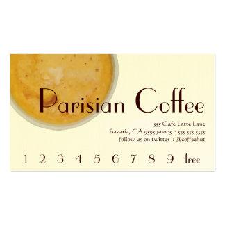 Lealtad parisiense de la bebida del café tarjeta d plantillas de tarjetas personales