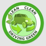 LEAN CLEAN DRIVING GREEN CLASSIC ROUND STICKER