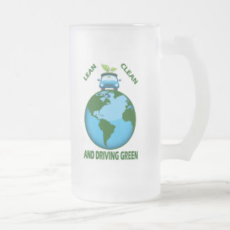 LEAN CLEAN & DRIVING GREEN, LEAN CLEAN & DRIVIN... FROSTED GLASS BEER MUG