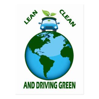 LEAN CLEAN & DRIVING GREEN POSTCARD