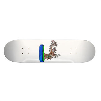 Leaning Bonsai in Winter Outline Graphic 1 Skateboard Deck