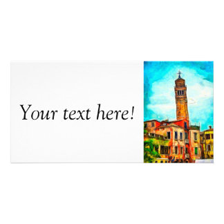 Leaning church painting, Venice Photo Card