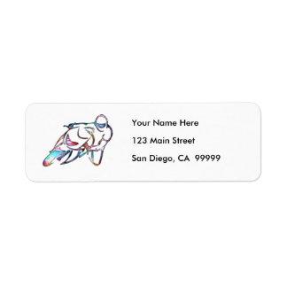 Leaning Into Curve Rainbow Metallic Return Address Label