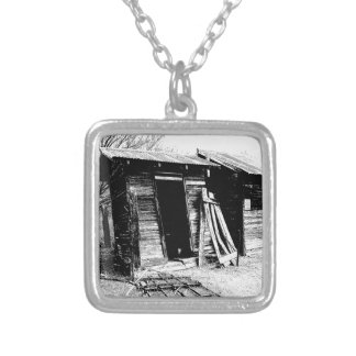 Leaning Outhouse Square Pendant Necklace