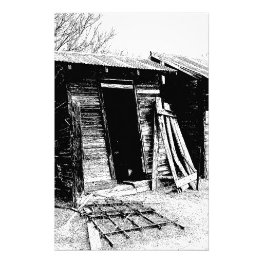 Leaning Outhouse Stationery