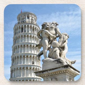 Leaning tower and La Fontana dei Putti Statue Beverage Coaster
