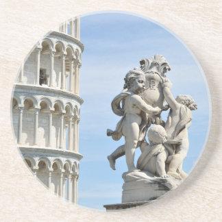 Leaning tower and La Fontana dei Putti Statue Drink Coaster