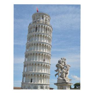Leaning tower and La Fontana dei Putti Statue Panel Wall Art