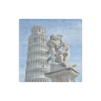 Leaning tower and La Fontana dei Putti Statue, Pis Stone Magnet