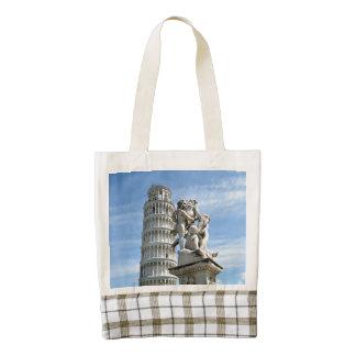 Leaning tower and La Fontana dei Putti Statue Zazzle HEART Tote Bag
