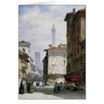 Leaning Tower, Bologna Greeting Cards