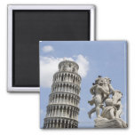 Leaning Tower of Pisa and Statue, Italy Refrigerator Magnet